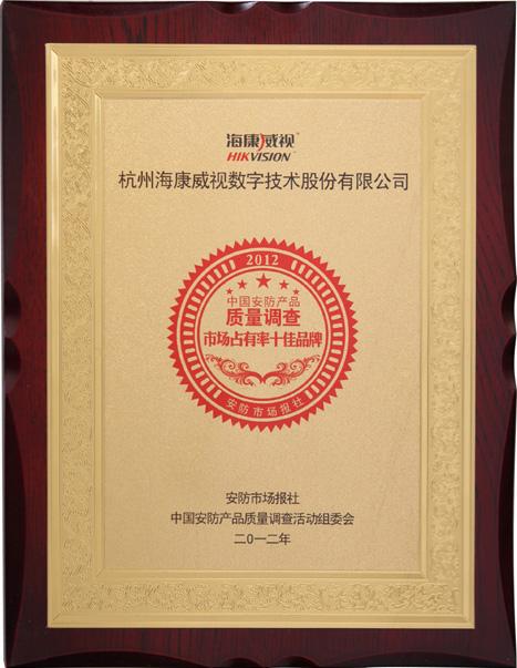 2012年中国安防产品质量调查市场占有率十佳品牌