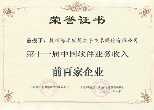 2012年中国软件收入前百家企业